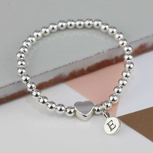 Personalised Tilly Silver Heart Bracelet - christening jewellery