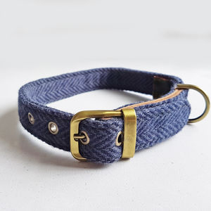 Dog Collar Tweed Blue - dog collars