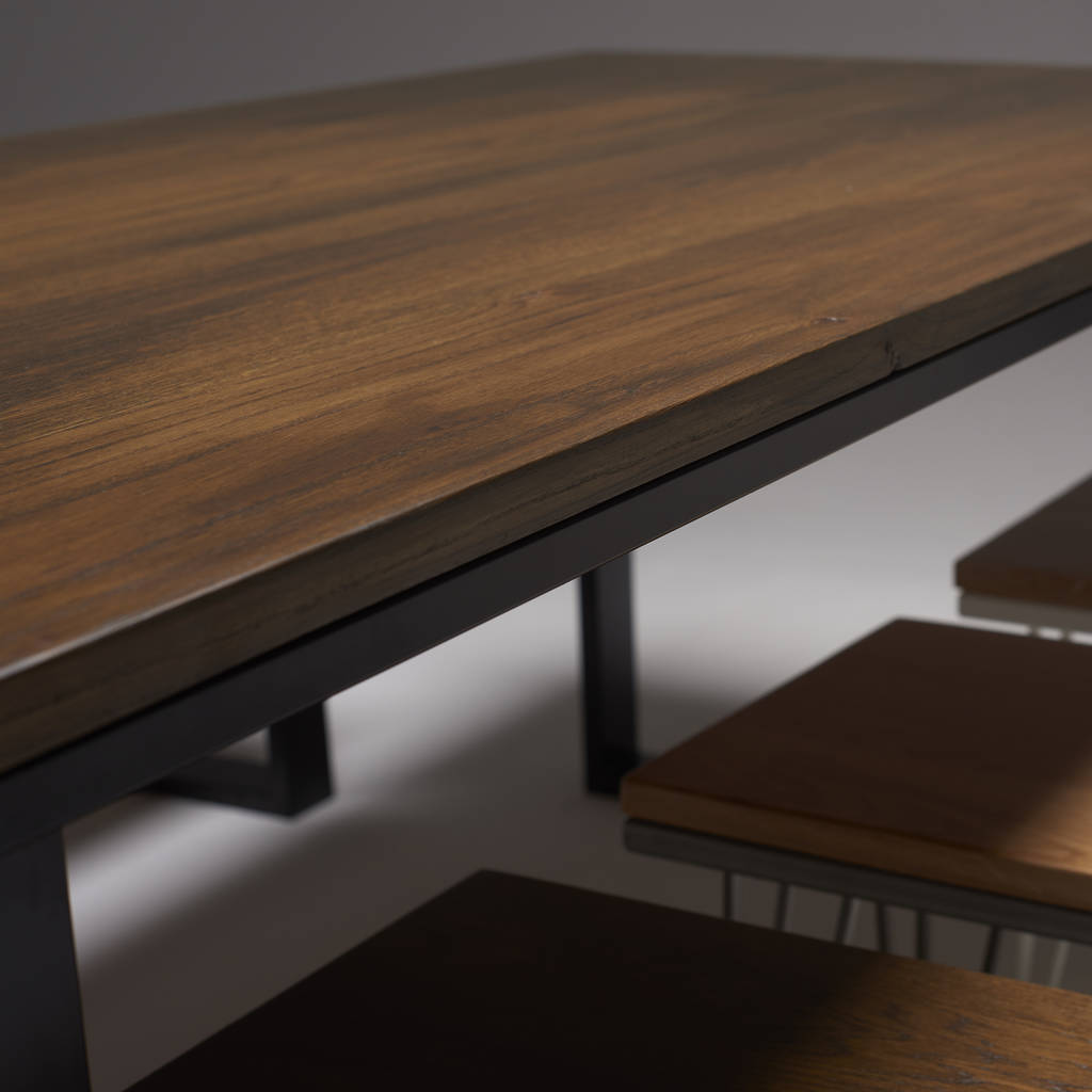 dark oak dining table with modern steel legs by wicked hairpins