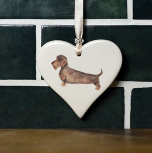 Wire Haired Dachshund Hanging Heart
