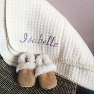 Personalised Lambswool And Sheepskin Cosy Baby Gift Set - gift sets