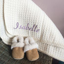 Personalised Lambswool And Sheepskin Cosy Baby Gift Set