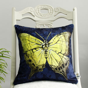 Yellow Butterfly Floral Print Cushion - bedroom