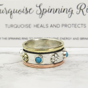 Silver Turquoise Spinning Ring