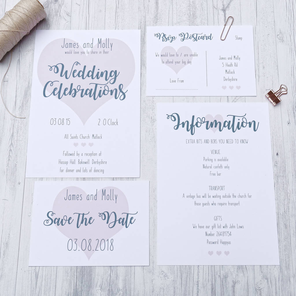 Love Heart Wedding Invitation By Happy Paper Notonthehighstreet Com