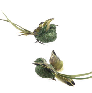 Pair Of Emerald Green Clip On Birds - christmas sale