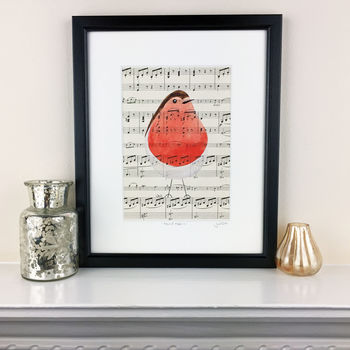 Cheeky Robin Original Painting On Antique Music