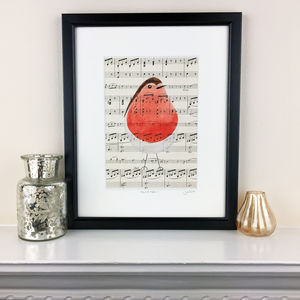 Cheeky Robin Original Painting On Antique Music - paintings