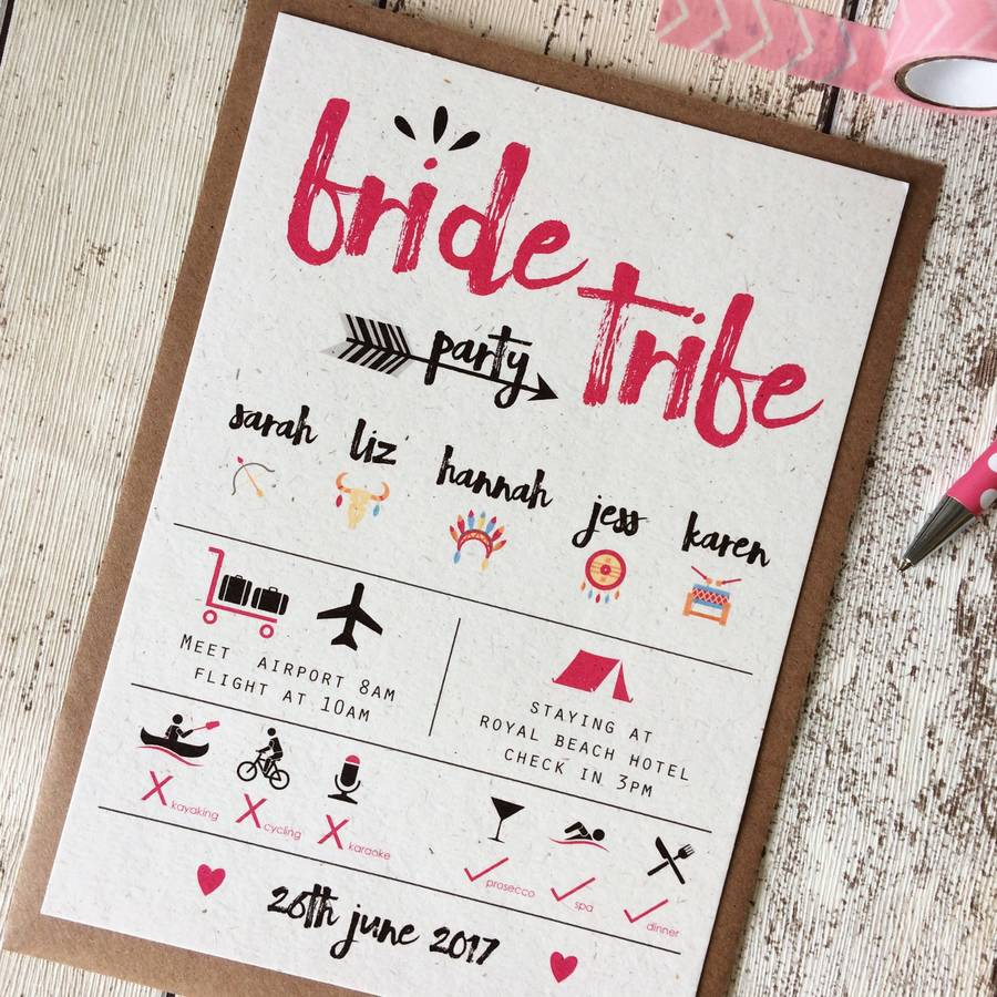 Hen stag party invitations notonthehighstreet bride tribe hen party invitations wedding stationery monicamarmolfo Choice Image