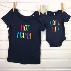 Hot Mama, Cool Kid. Mother And Child T Shirt Set