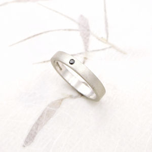 Silver Textured Diamond Ring - wedding rings