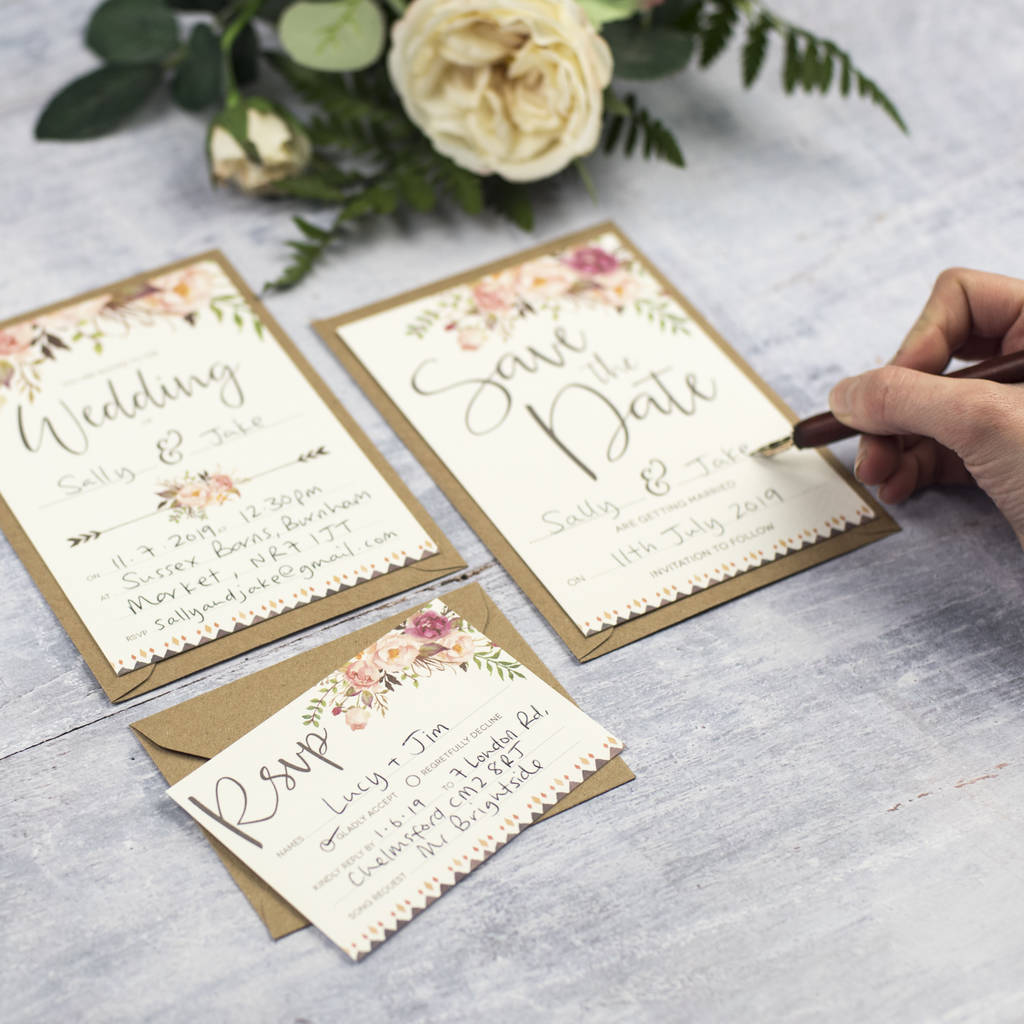 boho floral diy wedding invitation set by russet and gray ...
