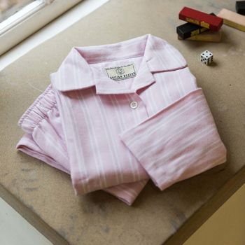 Children's Pyjamas Pink And White Two Fold Flannel