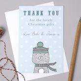 Personalised Bear Christmas Thank You Cards - cards