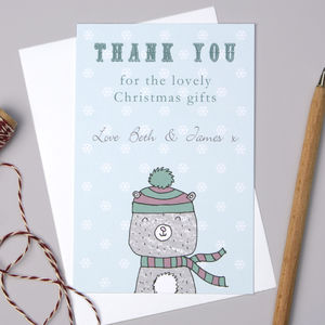 Personalised Bear Christmas Thank You Cards - thank you cards