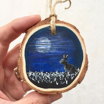 Hand Painted Winter Rabbit Night Scene