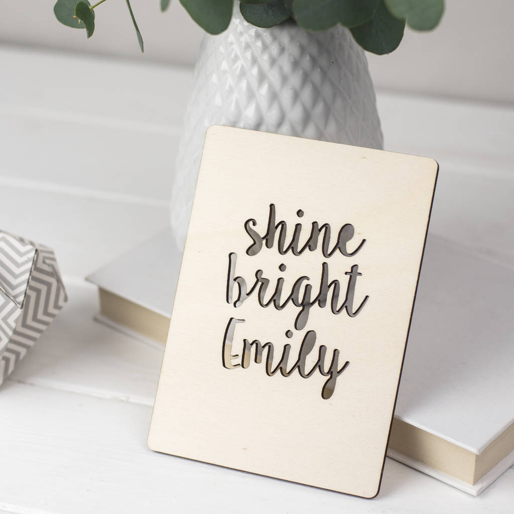 Shine Bright Personalised Wooden Card By Studio Thirty Two