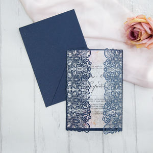 Lace Design Laser Cut Gatefold Opening Invitation - invitations