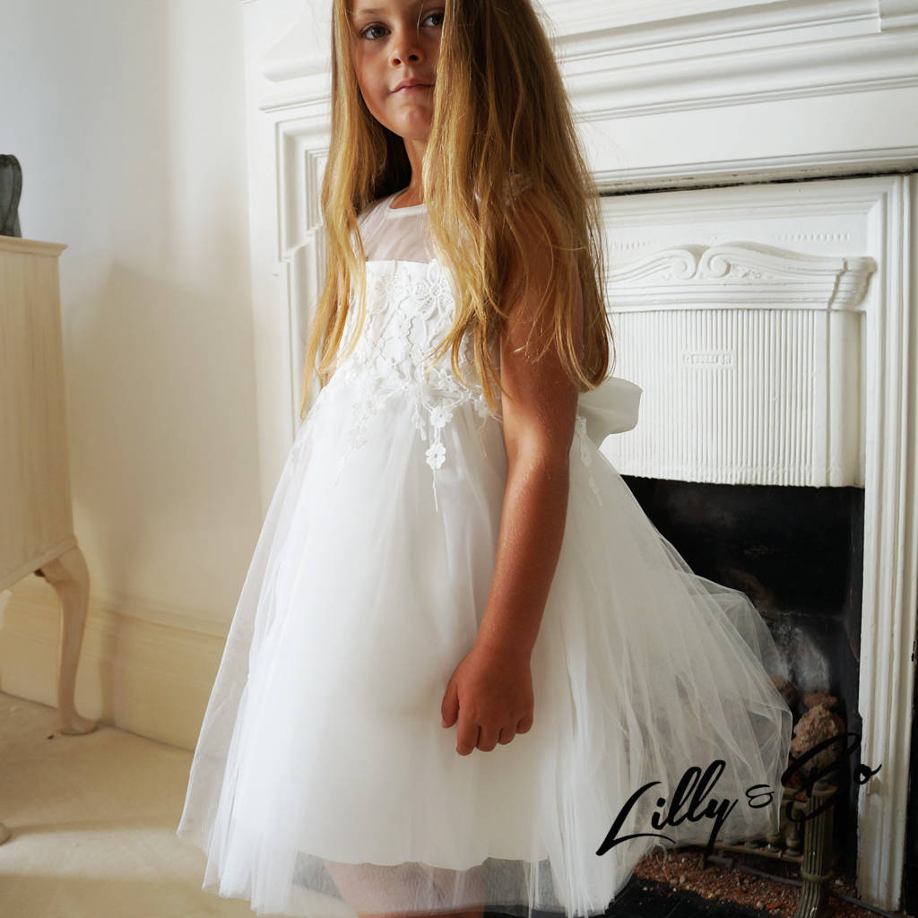 6c8881a9c7d annabelle ~ flower girl dress in white by lilly + bo ...