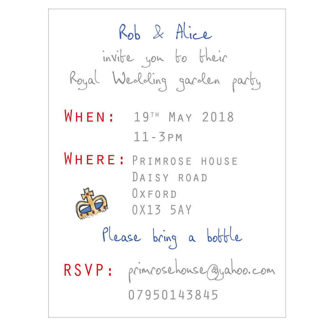 Royal Wedding Garden Party Invitations By Violet Pickles