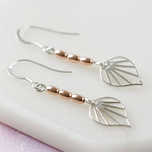 Art Deco Silver And Rose Gold Vermeil Drop Earrings - earrings