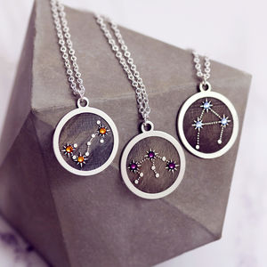 Zodiac Constellation Necklace In Sterling Silver