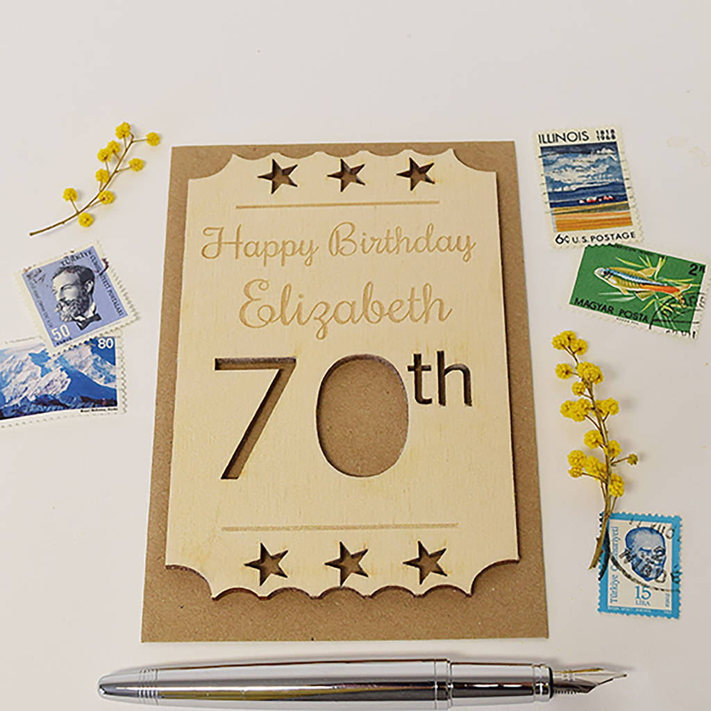 Personalised 70th Birthday Wooden Card By Hickory Dickory Designs