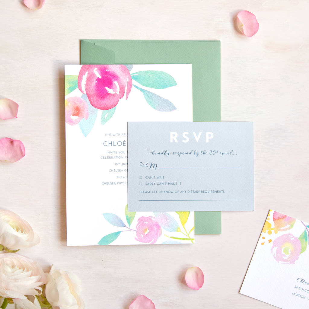 Rose Garden Wedding Invitation And Rsvp By Roxwell Press