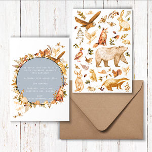 Golden Woodland Animals Invitations - adults party invitations