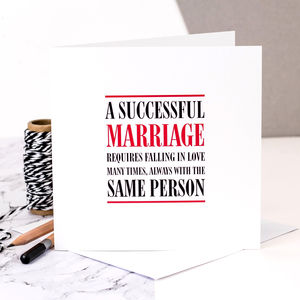 Wedding Card 'A Successful Marriage'