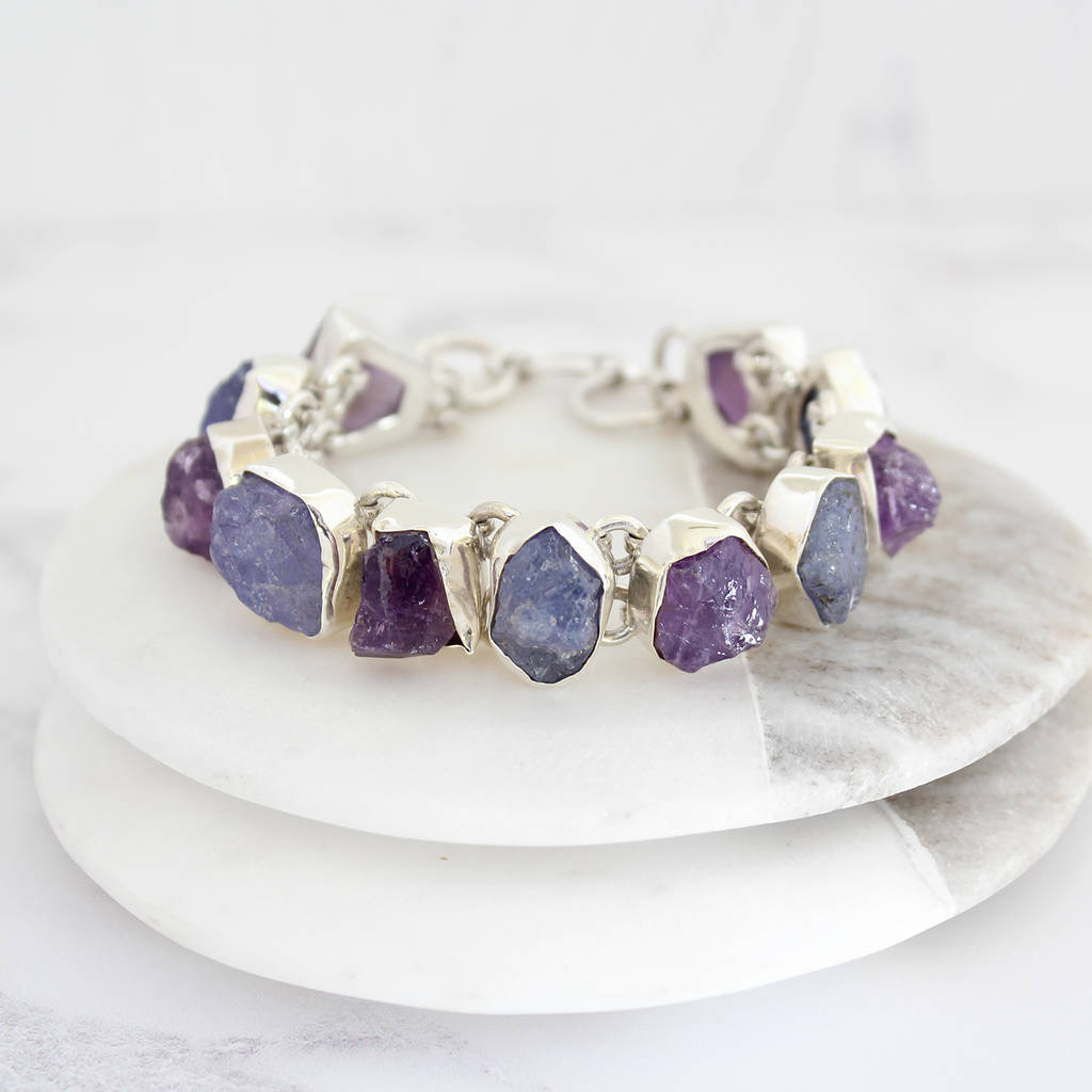handmade silver sterling by poppy shop gemstone tanzanite bracelet jewellery single ladies bracelets