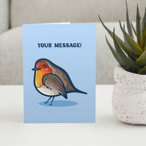 Robin Cute Personalised Greeting Card Size A5