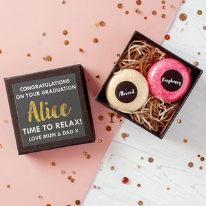 Personalised Graduation Bath Bomb Macarons In Gift Box