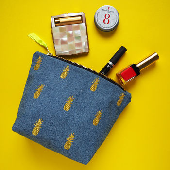 Embroidered Pineapple Cotton Make Up Bag