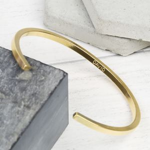 Men's Personalised Brushed Bar Bangle - bracelets