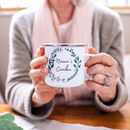 Personalised Botanical Wreath Enamel Mug