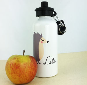 Personalised Water Bottle With Hedgehog