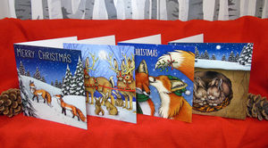 Eight Pack Of Wildlife Illustration Christmas Cards