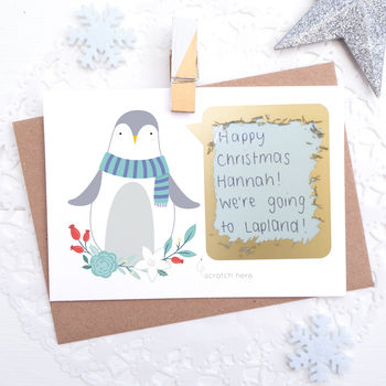 Personalised Penguin Christmas Scratch Card