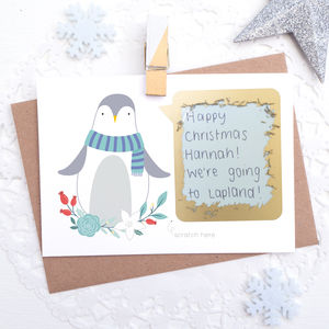 Personalised Penguin Christmas Scratch Card - christmas cards