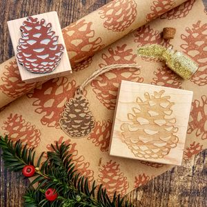 Christmas Pinecone Rubber Stamp - cards & wrap