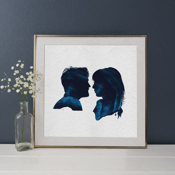 Personalised Couple Silhouette Texture Portrait