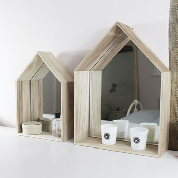 Wood Framed House Shaped Mirrors