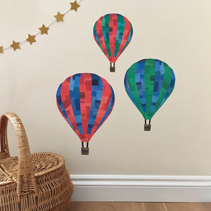 Hot Air Balloon Fabric Wall Sticker Set