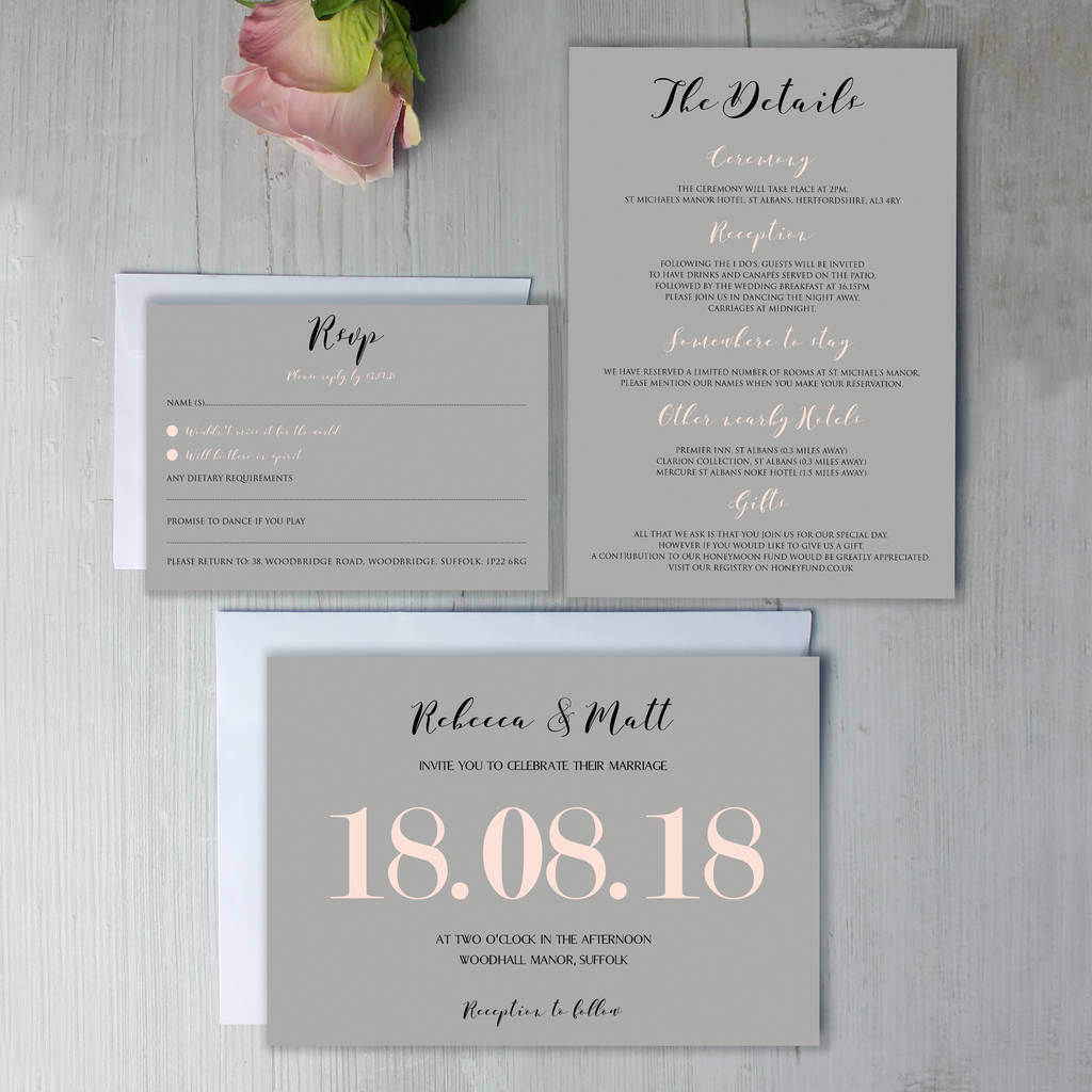 Modern Traditional Pastel Wedding Invitation By Beija Flor Studio