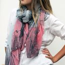 Personalised Two Tone Print Scarf With Botanical Design