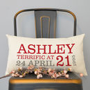 Personalised 21st Birthday Rectangular Cushion