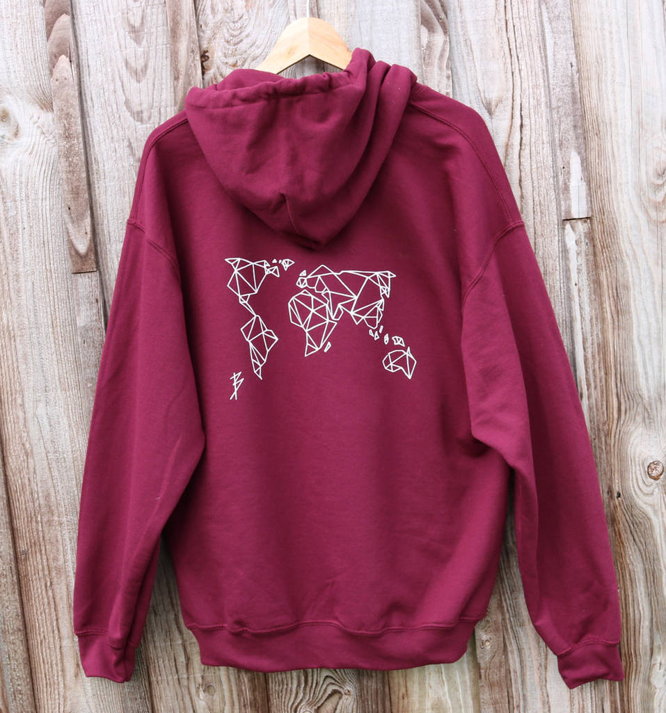 Burgundy origami world map hoodie by acies co notonthehighstreet burgundy origami world map hoodie gumiabroncs Choice Image