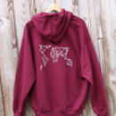 Burgundy Origami World Map Hoodie