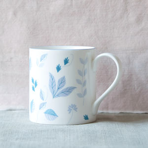 Blue Botanical Mug